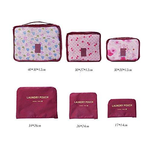 Bolsas Organizadores para Maletas de Viaje | Shopper Joy 6 Bolsos de Equipaje para Ropa | 3 Cubos de Embalaje y 3 Bolsa de Lavandería para Vacaciones Camping - Leopardo