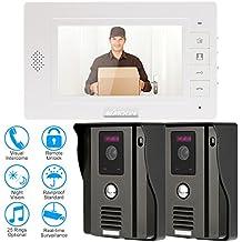 """KKmoon 7"""" Monitor Timbre Video Portero Intercomunicador (2 Cámara de Vigilancia, Desbloqueo Remoto, Pantalla TFT LCD, 3 IR LED Visión Nocturna)"""