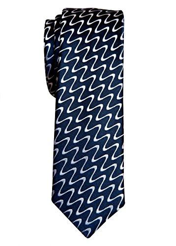 Retreez lisse ondulé en microfibre Motif rayé tissé 5,1cm Skinny de–6couleurs Navy Blue with White