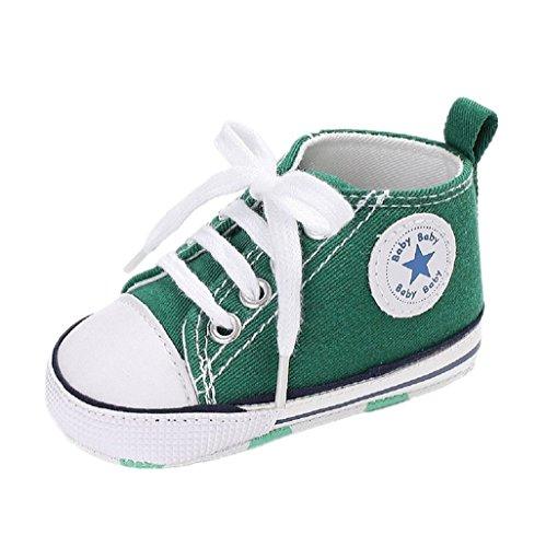 Auxma Babyschuhe Baby Schuhe Sneakers Aus Leinwand mit Weichen und Rutschfesten Sohle für 3-6 6-12 12-18 Monat (3-6 M, Grün) (Leinwand Baby)