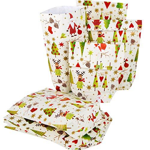 100 kleine weihnachtliche Verpackung Papier Tüte Weihnachtstüte SANTA Nikolaus ROT GRÜN 16,5 x 26 x 6,5 cm Weihnachtspapier Weihnachtsgeschenk Kunden