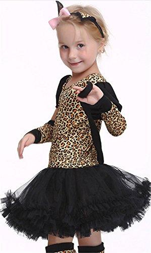 stüm Mädchen Kinderkostüm Katzenkostüm Leopardenkostüm Mädchen Leopard Cospalay Halloween Karnevalskostüme Katze Ballett Tierkostüm Katzen Kleid ()