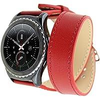 Generic Pelle Doppio Anello Cinturino per Samsung Gear S2 Classic, Moda Durevole Pelle Watch Band Strap Bracciale Cinturino Orologio Sostituzione Cinghia di Polso Wristband Watchband con Acciaio Fibbia per Samsung Gear S2 Classic - Rosso(Non incluso