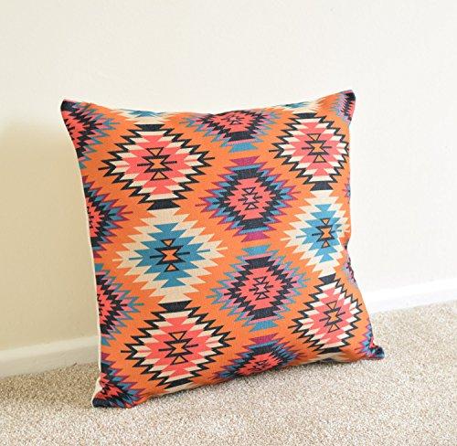 Orange/Violett Tribal Aztec Kelim Geometrische Baumwolle Leinen Kissen/Kissenbezug 45,7x 45,7cm