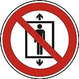 Verbotszeichen - Personenbeförderung (Seilfahrt) verboten - Ø 100 mm - 50 Verbotsschilder aus Polypropylen Folie, weiß (Aufdruckfarbe: schwarz/rot), permanent haftend