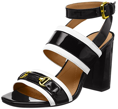 Geox Damen D AUDALIES HIGH Sandalo C Riemchensandalen, Schwarz (White/Black), 37 EU Black Patent Leather High Heel