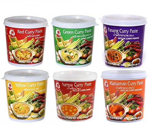 Cock Brand - Probierset Currypasten 6er Pack (6 x 400g) - 6 Sorten, je 1 Dose (Red Curry Paste Thai)