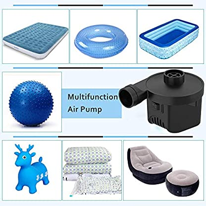 KERUITA Air Pump, Air Mattress Pump for Inflatable Blow up Pool Raft Bed Boat Toy Exercise Ball, 110V AC/12V DC Quick-Fill AC/DC Inflator&Deflator with 3 Nozzles (ACDC) 9