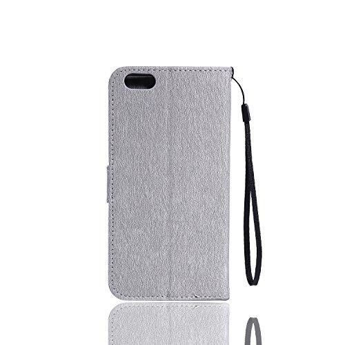 Cozy Hut Lover Dandelion Pattern Gemalt PU Leder Wallet Case Folio Schutzhülle für iPhone 6 Plus / 6S Plus (5,5 Zoll),Smartphone Handytasche Etui Schale Handy Tasche Flip Cover in PU mit Standfunktion grau Blumen-Rebe