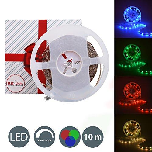 B.K.Licht 10 Meter LED Lichtstreifen Band Farbwechsel dimmbar selbstklebend Lichtleiste