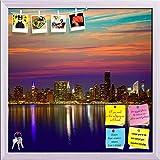ArtzFolio Manhattan New York City Skyline At Sunset, USA Printed Bulletin Board Notice Pin Board cum White Framed Painting 16 x 16inch