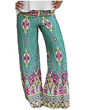 SYGoodBUY Pantalones de Mujer Maxi Long Fluid Pantalones de Talle Grande Cintura Alta Impreso Chic Elegante