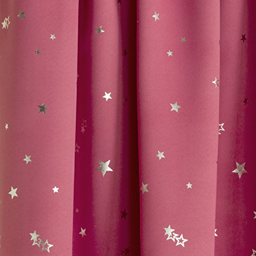 Children's Thermal Light Reducing Pink Moons & Stars Design Pair of Ready Made Curtains Tape Top, 46″ Width x 54″ Drop