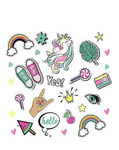 Pegatina transfer parche termoadhesivo friki unicornio para bodys, camisetas, chandal, sudaderas, babys, pijamitas, albornoces, canastillas, mochilas 20 x 20 cm de CHIPYHOME