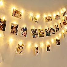 EleganBello Cadena de luces con pinzas 4m 40 LED Cadena de luces con pinzas 2 modos de luz Blanco cálido Guirnalda de luces con Clips para fotos ideal para ...