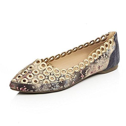 Damen Spitz Zehe Ziehen auf Gewebe Tier Stoffdruck Ohne Absatz Flache Schuhe, Blau, 36 AgooLar