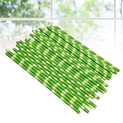 NUOBESTY 25 stücke Einweg Strohhalme mit Bambus Muster Papierstrohe Geburtstag Baby Shower Party Supplies Trinkhalm für Säfte Shakes Smoothies (Grün) -