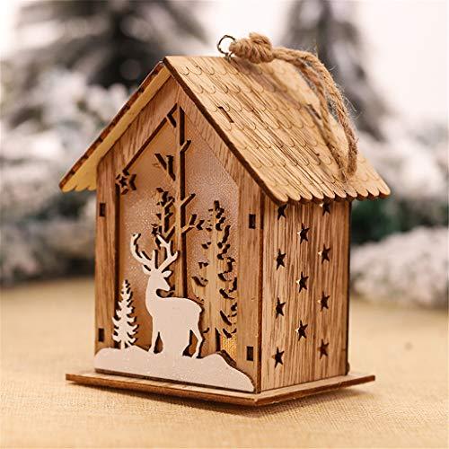 vijTIAN - Decorazione Natalizia a Forma di casetta in Legno con luci a LED per Albero di Natale, per Aumentare l'atmosfera Festiva per Te e la Tua Famiglia E
