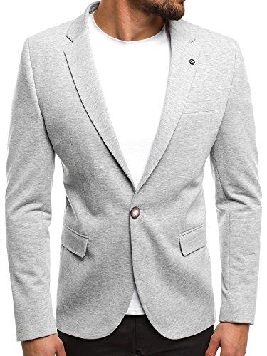 OZONEE Herren Sakko Business Anzugjacke Blazer Kurzmantel SIVIS PARIS 01 L/54 GRAU
