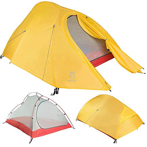 Paria Outdoor Products Bryce ultraleichtes Zelt und Unterlage - Perfekt für Rucksacktourismus, Kajakfahren, Camping und Bikepacking (Bryce 2P) (Kelty 1-personen-zelt)