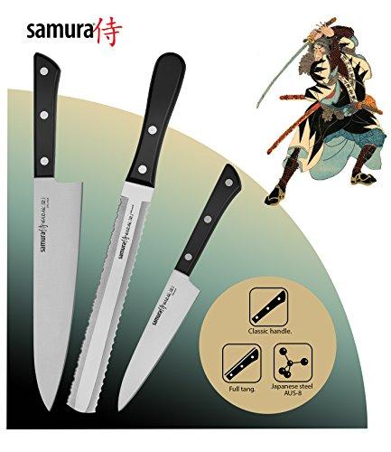 Set di coltelli premium Samura HARAKIRI di 3 pezzi – L'Acciaio Inossidabile Giapponese Originale della Miglior Qualità assicura Prestazioni di Lunga Durata!