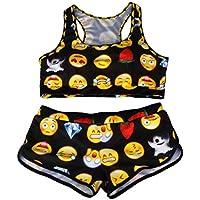 ZAIQUN Verano Mujeres Bikini Emoji Impresi¨®n Conjuntos de Playa Y Ba?Ador de Leopardo