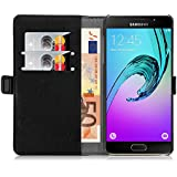 Samsung Galaxy A5 (6) 2016, JAMMYLIZARD Luxuriöse Ledertasche Flip Cover, SCHWARZ