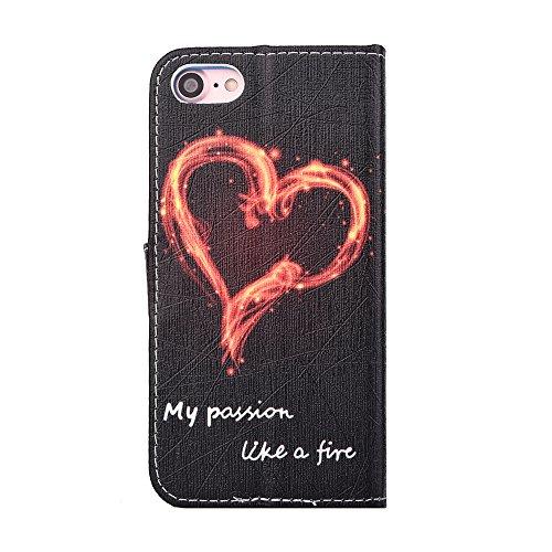 """iPhone 8 / iPhone 7 Schutzhülle Leder Hülle, Alfort 3 in 1 Flip Wallet Fashion Design Dual Use Falten Premium PU Leder Tasche Case Cover Flip Mappen Kasten Abdeckung für Apple iPhone 8 / iPhone 7 4.7"""" Liebe Feuer"""