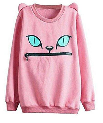 hqclothingbox Women Zip Mouth Smile Shoulder 3D Ear Cat Jumper Sweatshirt (Hat Popeye)