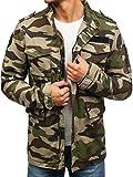 BOLF Herren Übergangsjacke mit Reißverschluss Stehkragen Lang Military Style Nature 5103 Khaki M [4D4]