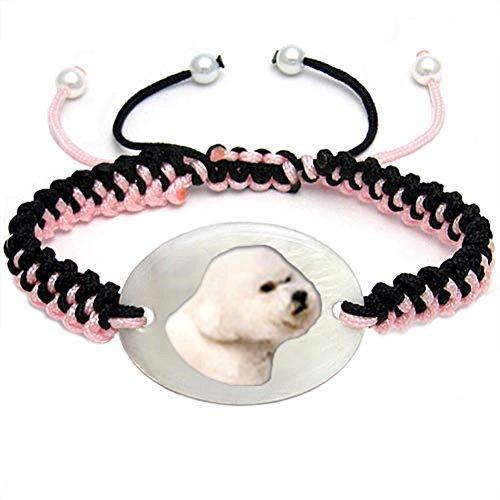 Timest - Bichon Frisé - Hunde Motiv Armband mit Perlmutt BS0277 -