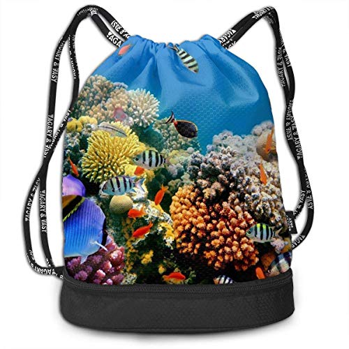 Tropical Fish On A Coral Reef Multifunctional Bundle Backpack Shoulder Bag for Men and Women Womens Coral Reef