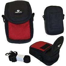 Case4Life Negro/Rojo cámara compacta Funda bolsa para Canon Powershot + Elph A, SX, S Serie inc S120, S200, A3500, SX610 HS, SX620 HS, SX240 HS, SX280 HS, A1400, A2400 IS