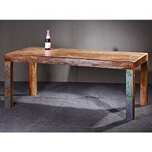 SalesFever Glace - Mesa de madera maciza, aspecto envejecido, diseño vintage, varios tamaños, 140 x 90 x 76 cm