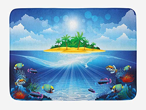 CHKWYN Aquarium Bath Mat, Deserted Tropical Island with Palm Trees Various Exotic Sea Animals and Plants, Plush Bathroom Decor Mat with Non Slip Backing, 23.6 W X 15.7 W Inches, Multicolor