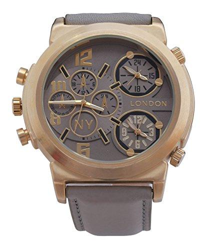 Men'' s NY London Gold Lünette graues Leder Armband Triple Time Zone Chronograph Luxury Watch Analog Quarz zusätzlichen Akku