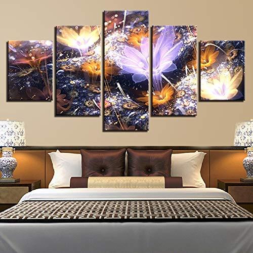mmwin Modulare Wandkunst Leinwand Poster Zitate 5 Stücke Kunstwerk Blumen Bilder Gedruckt Wohnzimmer Wohnkultur Landschaft d