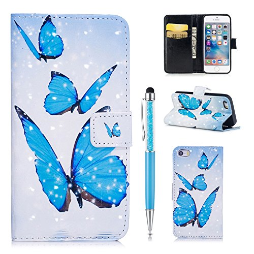 Custodia Pelle per iPhone SE Cover,per iPhone 5S Cover,per iPhone 5, ZCRO Custodia Portafoglio Flip del Cuoio Libro in Pelle Sottile Disegni Wallet Colorate Modello Antiurto Copertura Case con Slot pe 3D Design Farfalla blu