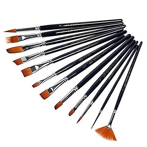 bodhi2000® Lot de 12pinceaux peinture cheveux en nylon noir Set pour artiste Huile Aquarelle Peinture Acrylique