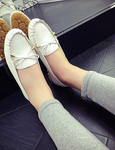 ShangYi gyht Scarpe Donna-Ballerine-Tempo libero / Formale / Casual-Punta arrotondata-Piatto-Finta pelle-Nero / Blu / Rosa / Bianco White