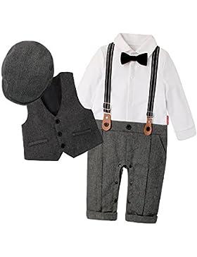 DecStore Baby Junge Fliege Krawatte Fliege Krawatte Strampler Smoking Taufe Hochzeit Bekleidungssets mit Hut