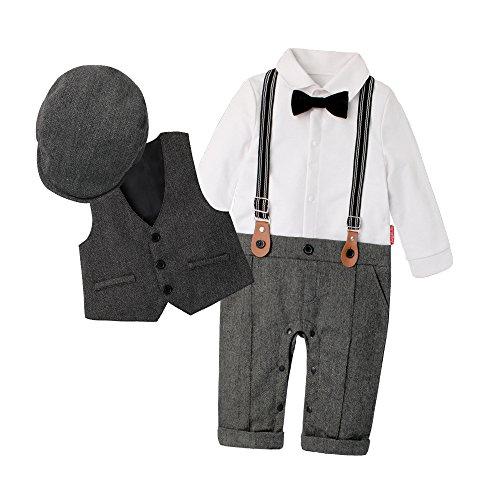 DecStore Baby Junge Gentleman Bodysuit Krawatte Romper Kleidung Suit mit Hut Grau 80