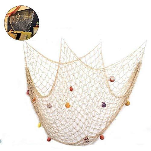 (Hihey Strand Dekoration Seefisch mediterranen Stil Luau Party Wand-Dekor Dekoration mit Muscheln - Beige)