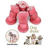Hunde-Weihnachtsstiefel mit rutschfester, weicher Sohle, Pfotenschutz und Klettverschluss, weiche, warme Weihnachtsstiefel für Welpen und kleine Hunde, warme Winterschuhe in Rot