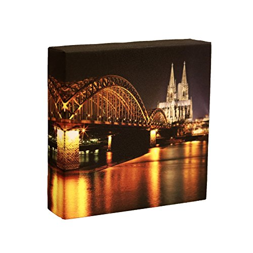 Fein Köln (Leuchtbild Köln Skyline - LUMO by feine art, LED Lampe mit Motiv)
