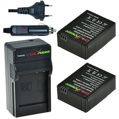 2x Batería + Cargador ChiliPower GoPro AHDBT-201, AHDBT-301, AHDBT-302 1300mAh para GoPro Hero 3, GoPro HD Hero3,