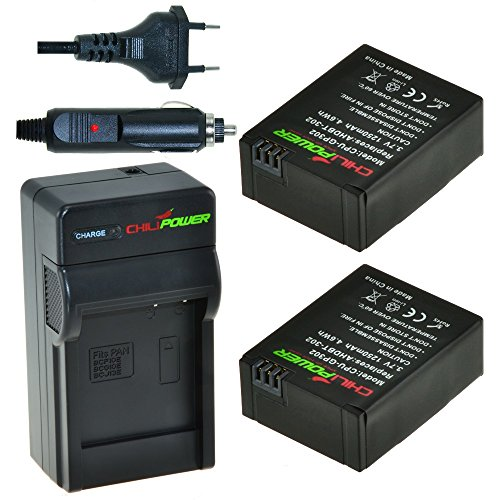 Price comparison product image ChiliPower AHDBT-201,  AHDBT-301,  AHDBT-302 Kit: 2x Battery + Charger for GoPro Hero 3,  GoPro HD Hero3,  Hero3
