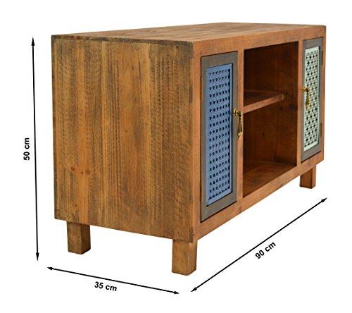 ts-ideen TV-Bank Lowboard HiFi-Schrank Vintage Antik Shabby Design Used Style Massivholz braun zwei Türen mit buntem Muster - 2