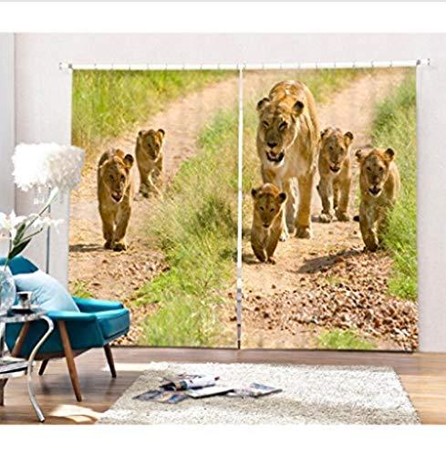 ZKSB Blackout 3D Fenster Vorhänge mit Leopard Animal Print für Wohnzimmer für Kinder Schlafzimmer Vorhänge-H245 X W340Cm-H250 X W275cm