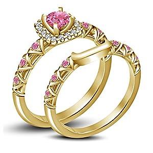 4132fc4b9d0e Lilu Jewels Juego de anillos de novia chapados en oro de 14 quilates